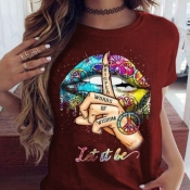 Lovely Leisure O Neck Lip Print Wine Red T-shirt