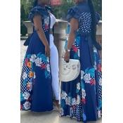 lovely Bohemian Print Patchwork Blue Maxi Dress