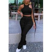 Lovely Stylish Fold Design Black Two-piece Pants S