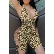 lovely Sexy Bandage Design Yellow One-piece Romper