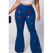 lovely Stylish Butterfly Blue Plus Size Jeans