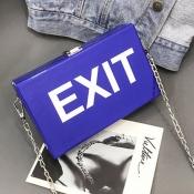 lovely Trendy Chain Strap Blue Crossbody Bag
