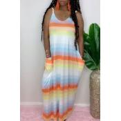 Lovely Casual Striped Print Orange Maxi Dress