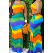 Lovely Bohemian Rainbow Striped Green Maxi Dress