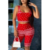 Lovely Trendy Print Red Two-piece Shorts Set