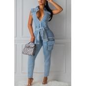 lovely Trendy Zipper Design Lace-up Blue Denim One