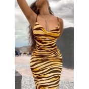 lovely Sexy Striped Print Yellow Ankle Length Dres