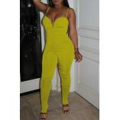 lovely Sexy Fold Design YellowOne-piece Jumpsuit