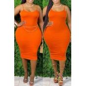 lovely Sexy Basic Skinny Orange Knee Length Plus S