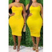 lovely Sexy Basic Skinny Yellow Knee Length Plus S