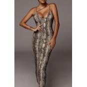 lovely Sexy Snakeskin Print Ankle Length Dress