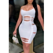 lovely Sexy Hollow-out White Knee Length Dress