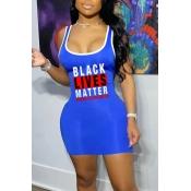 lovely Sportswear U Neck Letter Print Blue Mini Dr