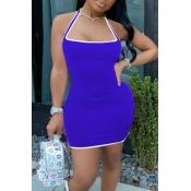 lovely Sportswear Patchwork Blue Mini Dress