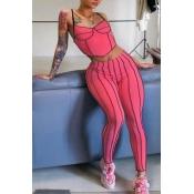 lovely Sportswear Striped Pink Two-piece Pants Set