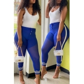 lovely Casual Patchwork Blue Pants