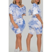 Lovely Casual Tie-dye Baby Blue Plus Size Two-piec