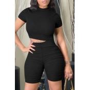 lovely Casual Basic Skinny Black Two-piece Shorts Set