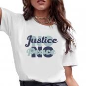 lovely Casual O Neck Print Letter White T-shirt