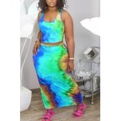 Lovely Trendy Tie-dye Blue Two-piece Skirt Set