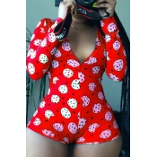 lovely Stylish Print Red One-piece Romper
