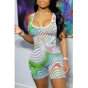 lovely Casual U Neck Print Multicolor One-piece Romper