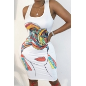 lovely Leisure U Neck Print White Knee Length Dress