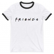 Lovely Casual O Neck Letter Print White T-shirt