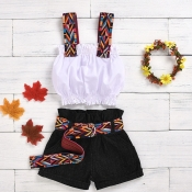 lovely Ethnic Print Patchwork White Girl Two-piece Shorts Set