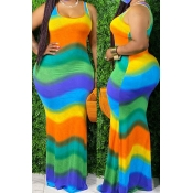 Lovely Bohemian Rainbow Striped Green Maxi Plus Si