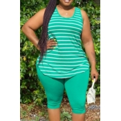 Lovely Street O Neck Striped Green Plus Size Two-p