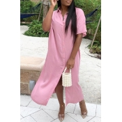 lovely Casual Side High Slit Pink Ankle Length Dre