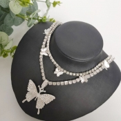 Lovely Chic Butterfly Silver Necklace