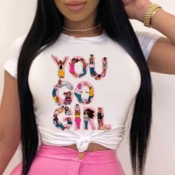 lovely Casual O Neck Letter Print Pink T-shirt