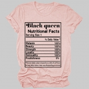 lovely Leisure O Neck Letter Print Pink Plus Size T-shirt