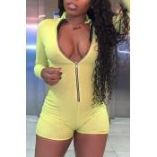 lovely Sportswear Zipper Design Yellow One-piece R