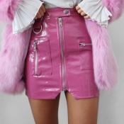 lovely Trendy Zipper Design Pink Skirt