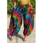 lovely Bohemian Tie-dye Blue Pants