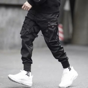 lovely Trendy Pocket Patched Black Pants