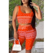 lovely Trendy Print Jacinth Two-piece Shorts Set