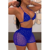 lovely Hot Drilling Decorative Blue Two-piece Swim
