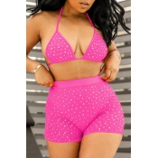 lovely Hot Drilling Decorative Pink Two-piece Swimsuit