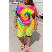lovely Casual Tie-dye Multicolor Plus Size Two-pie