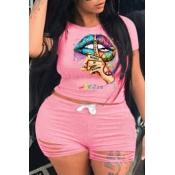 lovely Street O Neck Lip Print Pink Plus Size Two-