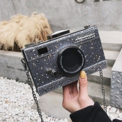 lovely Chic Camera Silver Crossbody Bag