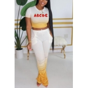 lovely Casual Letter Print Yellow Two-piece Pants