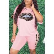 Lovely Street Lip Print Pink Two-piece Shorts Set