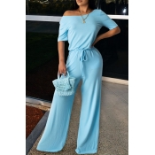 lovely Leisure Lace-up Baby Blue One-piece Jumpsui