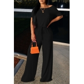 lovely Leisure Lace-up Black One-piece Jumpsuit