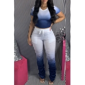 Lovely Casual Gradual Change Deep Blue Two-piece Pants Set